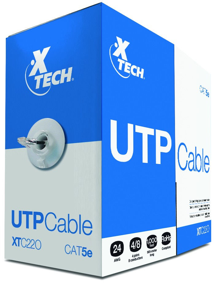 CAJA CABLE UTP CAT 5E ALEACION GRiS, XTECH